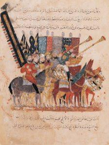 Reproducción de un códice con una ilustración de guerreros musulmanes.