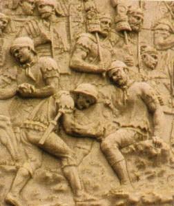 Legionarios romanos vistiendo bracaes (Columna de Trajano, Roma)