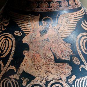 Rapto de Oritia por Bóreas. Detalle de un oinocoe de figuras rojas apulio, c. 360 a. C.