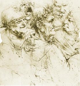 Retratos de personajes horrendos dibujados por Leonardo da Vinci.