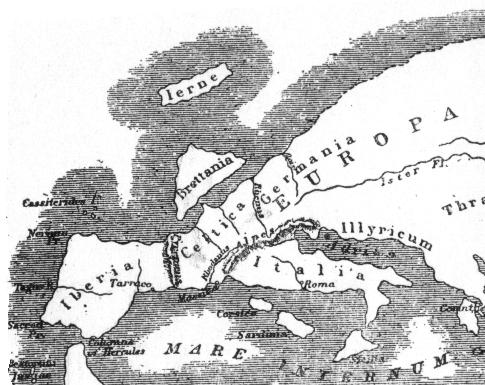 Mapa de Europa según Estrabón.