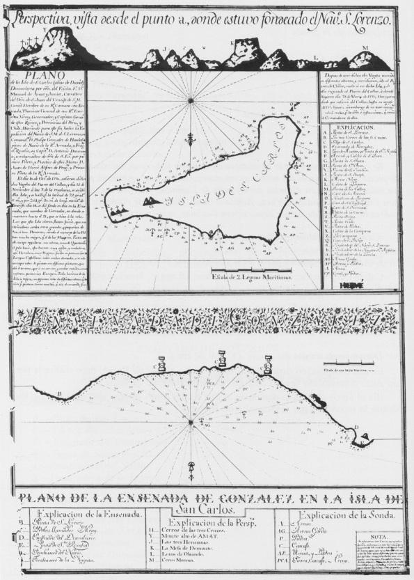 """El mapa de la Isla de Pascua (renombrada como """"Isla de San Carlos"""") de la expedición de González Ahedo en 1770."""