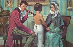 Laënec auscultando a un niño con su estetoscopio