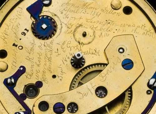 Inscripciones alusivas a la Guerra Civil que grabó el relojero Dillon en 1861- REUTERS