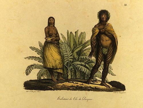 Habitantes de la isla de Pascua. Grabado realizado por el pintor germano Louis Choris en 1815.