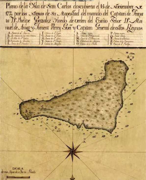 Primer mapa de la Isla de Pascua. Realizado por Felipe González de Haedo. Ellos le dieron el nombre de Isla de San Carlos