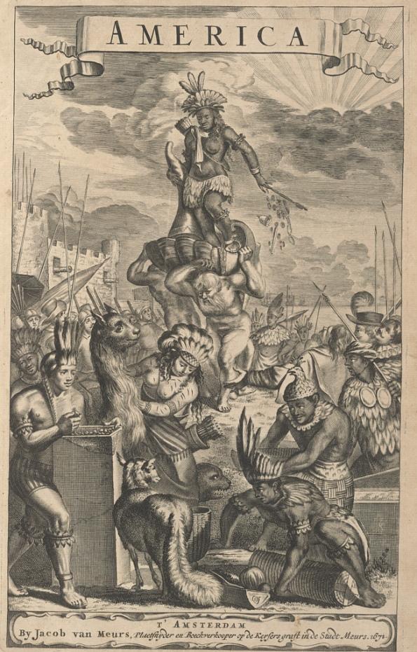 Ilustración del libro El Nuevo y desconocido mundo: o Descripción de América y del Sur  (Amsterdam, 1671)