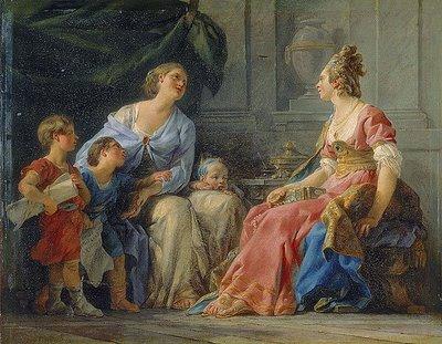 """""""Cornelia, madre de los Gracos"""" por Noël Hallé."""