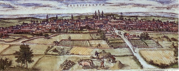 Grabado de Valladolid realizado en 1574 por Braun y Hogenberg. / Wikipedia